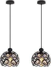 2x Moderne Lampe Suspension en Fer Cristal Ø26CM,