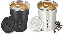 2x Mug pour café à double paroi : blanc
