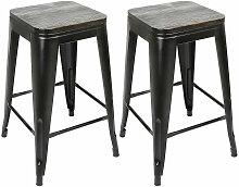 2x tabouret avec siège en bois, tabouret en