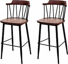 2x tabouret de bar 877b, chaise bar, bois massif,