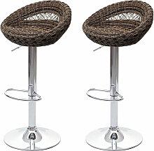 2x tabouret de bar HHG-058, chaise de comptoir,