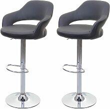 2x tabouret de bar HHG-261, chaise de comptoir