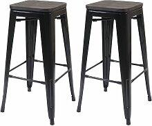 2x tabouret de bar HHG-392 avec siège en bois,