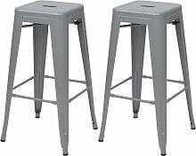 2x tabouret de bar HHG-799, chaise de comptoir,