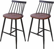 2x tabouret de bar HHG-875, chaise, bois massif,