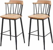 2x tabouret de bar HHG-877b, chaise bar, bois