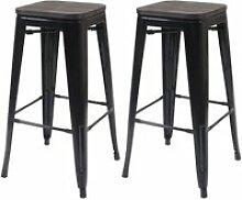 2x tabouret de bar hwc-a73 avec siège en bois,