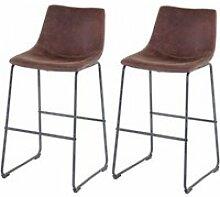 2x tabouret de bar hwc-d70, chaise bar/comptoir,