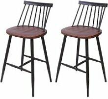 2x tabouret de bar hwc-g69, chaise, bois massif,