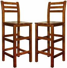 2x Tabouret haut Chaises haute en bois acacia bar