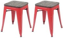2x tabouret hwc-a73 avec siège en bois, tabouret
