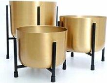 3 Cache-pots sur pied design Gold - H. 29 cm -