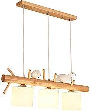 3-Flamme Bois Suspension Lumière Moderne Table à