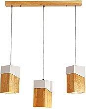 3-Flamme Bois Suspension Lumière,Moderne Table à