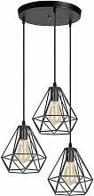 3 Lampes Lustre Suspension Luminaire Industrielle