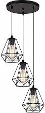 3 Lampes Suspension Vintage Lustre Suspension en