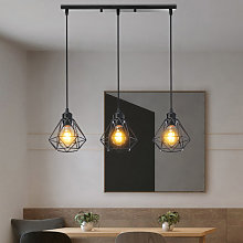 3 Lumières Lustre Suspension Moderne Industriel