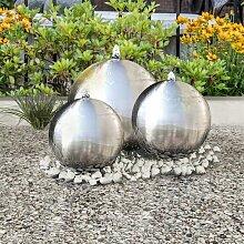 3 pcs Sphères de fontaine de jardin avec LED