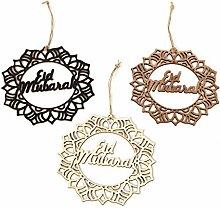 3 pièces Eid Mubarak ornement en bois bois