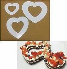 3 pièces pochoirs à gâteau en forme de coeur