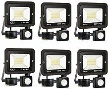 30W Projecteur LED détecteur de mouvement, Blanc
