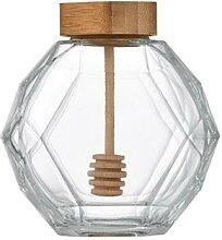380ML Pots à Confiture Hexagonaux Transparent Pot