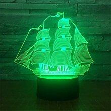 3d bateau à voile Illusion lampe de lumière de