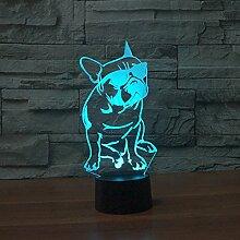3d bouledogue français Illusion lampe de lumière