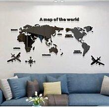 3D DIY Carte du Monde Stickers Muraux en