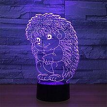 3d Hérisson Illusion lampe de lumière de nuit 7
