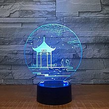 3D Illusion Night Light Ancien Pavillon Lampe 3D