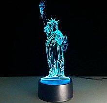 3d la statue de la liberté Illusion lampe de