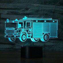3d la voiture de pompier Illusion lampe de