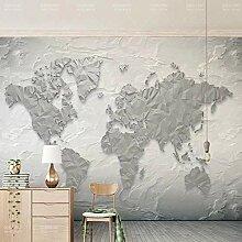 3D Simple carte du monde pierre ligne Style papier