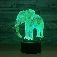 3d Un éléphant Illusion lampe de lumière de