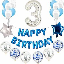 3e anniversaire décoration bleu argent ensemble