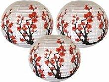 3pcs - lot Rouge Sakura Motif Papier lanternes
