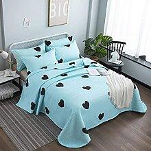 3pcs Noir pêche coeur couvre-lit bleu clair