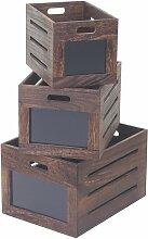 3x boîte en bois Troyes, box de conservation avec