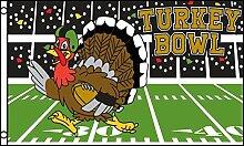 3x5 Turquie Bowl Football Flag Happy Thanksgivings