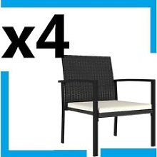 4 chaises de jardin en Rotin résine tressée
