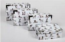 4 Grandes Boites de Rangement - Carton Impr. Chiot