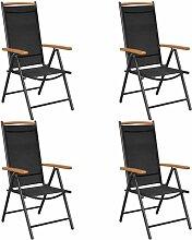 4 pcs Chaises pliables de jardin Aluminium et