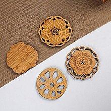 4 pièces Lotus boisson sous-verres tapis en bois