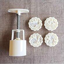 4 Style Fleur Forme Mooncake Moule Set Pression