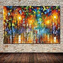 40 * 50cm Grands Lovers peints Lovers Rain Street