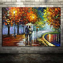 40 * 50cm Grands Lovers peints Lovers Rain Street