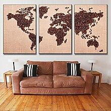 45Tdfc 3 Pieces HD Tableau Déco Carte du Monde en