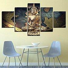 45Tdfc 5 Panneau Carte du Monde de Bouddha