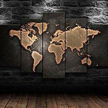 45Tdfc 5 Panneau Carte du Monde rouillé Peinture